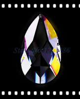crystal prism - 30 MM CLEAR CRYSTAL GLASS ALMOND LAMP CHANDELIER PRISMS PARTS X MAS WEDDING PENDANT RINGS
