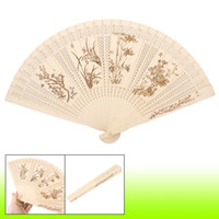 wooden hand fan - Craft Plum Blossom Bamboo Pattern Folding Wooden Hand Fan