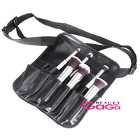 Wholesale BeautyGaGa Pro Supply New Piece Black PU Portable Cosmetic Waist Bag Makeup Brushes Case Makeup Tool