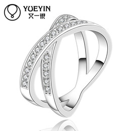 R487-8 x cross shaped sterling silver 925 womens rings with AAA cz stones sets ,Party Rings 1pcs lot