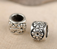 Wholesale DIY Bracelets Accessories Vintage Style Antiqued Silver Tone Alloy Flower Round Beads mm