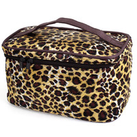 Wholesale Brown Beige Leopard Printed Cosmetic Bag Make Up Pouch Case for Women