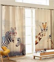 Wholesale Modern Style Zebra giraffe linen curtain for kids living room balcony study