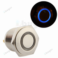Cheap 16mm 3V Blue LED Momentary Push Button Metal Switch for Car
