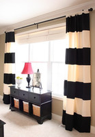 Wholesale X210CM cotton black and white horizontal stripe curtain good for the living room blackout curtain modern style curtain