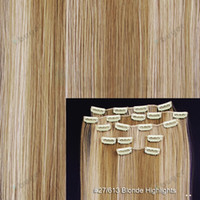 Wholesale 8 quot Blonde Highlights Straight Full Head Synthetic Hair Extensions