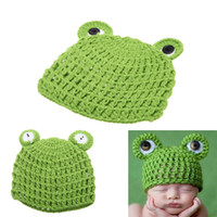 Wholesale Baby Infant Frog Froglet Crochet Knitting Costume Hat Soft Adorable Clothes Photo Photography Props for Month Newborn D1569