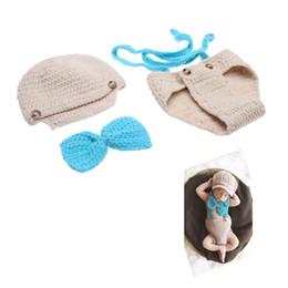 Wholesale Baby Bow Tie Suspender Hat Suit Crochet Knit Costume Soft Adorable Clothes Photo Photography Props for Month Newborn Infant D1570