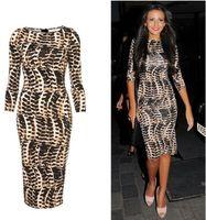 Wholesale Free Ship fashion European and American star models leopard print slim hip slim half sleeve plus size one piece dress