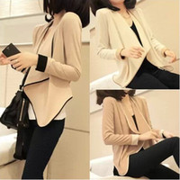 Wholesale New spring and autumn casual all match color block female blazer slim small cape cardigan female short jacket