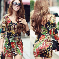 Wholesale Hot Sell New Sexy Plus Size Dress Print Floral mini bodycon long sleeve women party elegant evening casual new fashion club wear winter