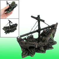 Wholesale 3 Inch Height Boat Shape Aquatic Resin Ornaments Decor for Fish Tank