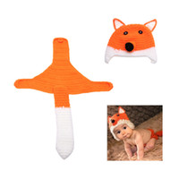 Wholesale New Baby Infant Fox Crochet Knitted Costume Soft Adorable Clothes Hat Nappy Photo Photography Props for Month Newborn D1581