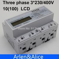 watt meter - 10 A V V HZ three phase Din rail KWH Watt hour din rail energy meter LCD