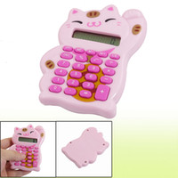 Wholesale Pink Lucky Cat Shaped Digits LCD Display Electronic Calculator