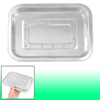 Wholesale Portable cm x cm Stainless Steel Dinner Plate Dish Tray Silver Tone