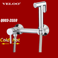 Wholesale Brass Chrome Handheld Bidet Toilet Portable Bidet Shower Set With Hot and Cold Water Bidet Mixer Tap Q003