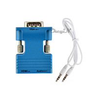 Wholesale Mini HDMI Female to VGA Male Video Converter Adapter with Audio Full HD P Connector for TV PC DVD Colors