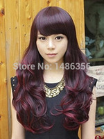 Cheap Newest Synthetic Hair sexy fashion Wine Red pretty Women's Lace Capless Long Wavy Wig long curly hair wigs woman wig
