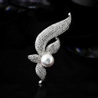 Wholesale Pearl Inlaid Ally Brooch Fashion Women Jewelry Breastpin hjf ES