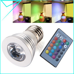 Wholesale Amazing Colorful Colors W E27 RGB Led Bulb With IR Remote Controller Spot Light AC V for Decorative Home H1492