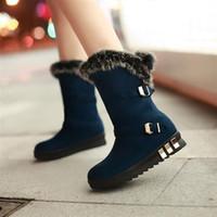 Wholesale 2015 New Arrival Winter Women Flats Rabbit Fur Buckle Chunky Heel Snow Boots Lady Fashion Warm Half Boots Size SXQ0623