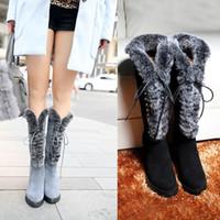 Wholesale Women Winter Thick High Heel Genuine Leather Snow Boots Rabbit Fur Lace Up Side Zipper Round Toe Fashion Knee High Boots Size SXQ0808