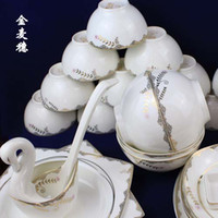 Wholesale Dinnerware Sets ceramic tableware suit golden wheatear skull porcelain dishes microwave bowl dish
