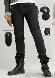 Los nuevos pantalones vaqueros de moto llegada Slim uglyBROS pantalones vaqueros del dril de algodón en forma recta Featherbed negro pantalones de moto