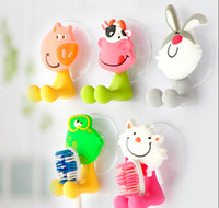 Wholesale creative cute cartoon animals toothbrush hanging strong chuck toothpaste tooth brush holder hanging rack tooth brush JA26