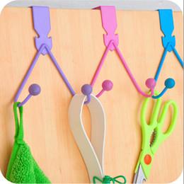 Wholesale Creative candy colors wrought iron door back hook non trace door hook nail coat hanger JA59