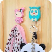 adhesive door hooks - KA creative cartoon wooden door Kitchen powerful adhesive hook non trace hanging nail hanger PACK JA69