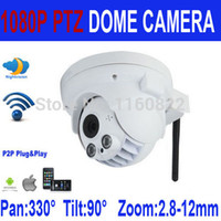 Cheap 1080P Full HD Wireless PTZ Dome IP Camera 2.0MP with Pan Tilt Zoom TF Micro SD Card Slot Sony Low Lux Cmos Wifi Security Camera