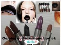 Wholesale brand Cosmetic set Cosplay gothic vampire champagne gold bead light purple red Dark Purple Cyber Black grape purple Lipstick makeup