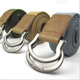 Wholesale-6 color Hot sale ! 2015 Fashion men belt belt brand two Metal buckle Pure Canvas belt Free size +Free shipping