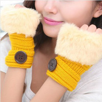 Wholesale Korean Winter Short Section Mitts Cute Buttons Half finger Gloves Nine Colors For Choose