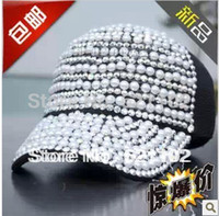 Wholesale HOT female pearl sparkling diamond baseball cap duck tongue hat mesh cap truck cap truck cap
