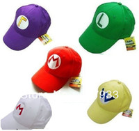 Wholesale Mario Luigi Hats Adjustable Super Mario Bros Baseball Hat Caps Red Green Purple Yellow White colors