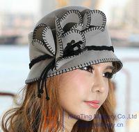 Wholesale Women Dress Hat Women Wool Felt Hat Winter Hat Top Hat Millinery Chapeau Red Grey