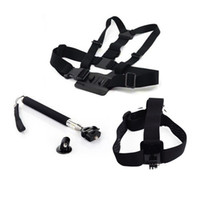 Wholesale go pro accessories head strap Mount Chest Strap Head Mount Handle Monopod Pole Tripod For GoPro Hero Camera Sj4000