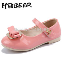 Wholesale HobiBear Size Retail pair Kid Girl PU Leather Shoes Mary Janes with Bowknot Lovely Kids Shoes G095