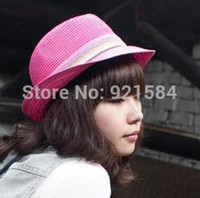 Wholesale New Fashion panama hat women s Fedoras Caps Straw hat good quality candy colored elegant lady outdoor travel sunhat OQ
