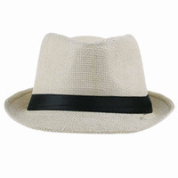 Wholesale Solid Unisex Trilby Gangster Cap Summer Beach Sun Straw Panama Hat ZDS5