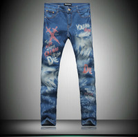 designer casual jeans - Casual fashion brand designer jeans men New Painted graffiti print men jeans denim skinny pants NZK021