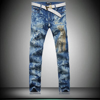 stretch jeans - Gaga Deal New men s American flag jeans Brand famous Men Skinny Trousers Stretch Slim thin Mens Print Jeans Painted Pants