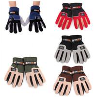 fleece gloves - Windproof Adjustable Outdoor Sport Gloves Men Full Finger Fleece Thermal Winter Ski Cycling Bike Skiing Hiking Gloves H14033