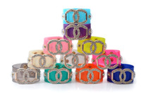 leather cuff bracelet - New Fashion Neon Candy Leather Crystal CC Cuff Bracelet Geometric Chunky Statement Bracelet Bangle Party Jewelry For Women