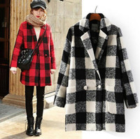 Cheap New Women's Winter Plaid Coat Classic Vintage Wool Blends Double-breasted Outwear Warm Overcoat Lady's Outerwear Coats Red Black