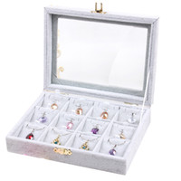 jewelry ring display - Slots Gray color Jewelry display casket Jewelry organizer earrings ring box case for Jewlery gift box