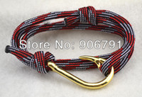 red and white rope - popular a red white and black rope with gold fish hook bracelet jewelry